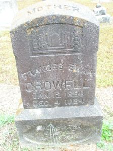 Pa Crowell's wife, Frances's tombstone