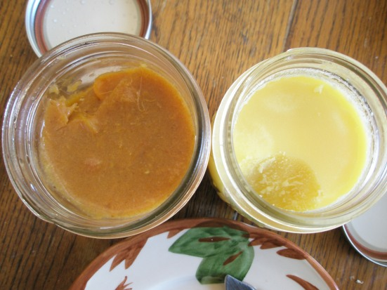 Persimmon jam on left, ghee on right