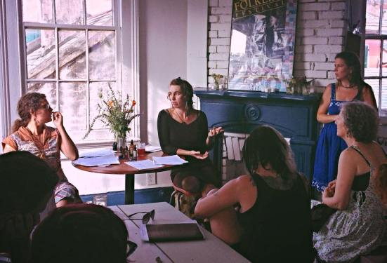 Lindsay, Jen and Rachael discussing seasonal living with food & herbs