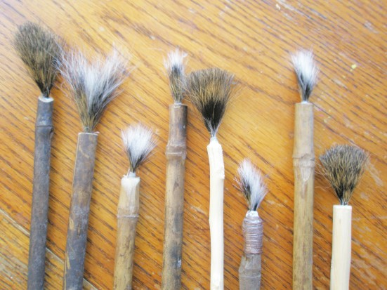 Our eight rustic finished watercolor brushes