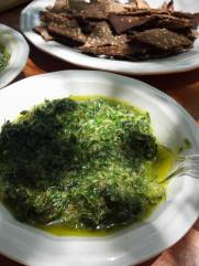 Wild greens pesto and Yellow dock seed crackers