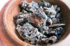 dried kyphi incense broken into smaller chunks