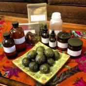 Our apothecary's first offerings to the public >> bioregional kyphi incense, herbal tea blend, herbal house cleaner concentrate, liver & lypmh tincture, first aid salves, queen of hungary water, red cedar & rosemary massage oil, vitality balls...